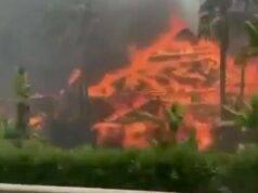 Spaventoso incendio a Taranto: fiamme sulla strada e traffico in tilt – FOTO