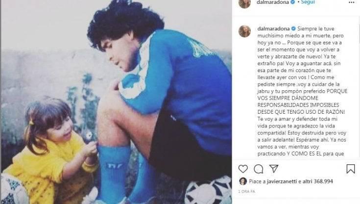 """Maradona, lo straziante saluto della figlia Dalma: """"Morirò dentro…"""""""