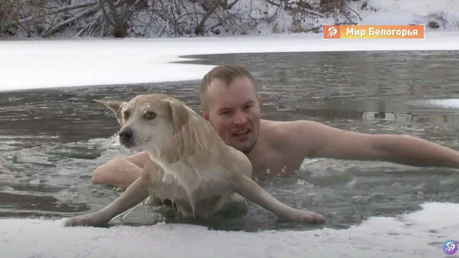 Si tuffa nell'acqua a  20 gradi per salvare un cane – VIDEO