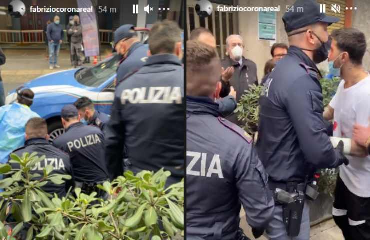 Fabrizio Corona l'arresto ripreso su Instagram
