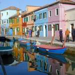 view of the canal on Burano Island taken near Veni
