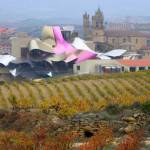 Marques de Riscal Cellars. Elciego. La Rioja. Ciudad del Vino, located in Elciego (Alava), is a complex comprising the oldest winery of Rioja, the winery of Marques de Riscal (1858) and a new building designed by the Canadian architect, Frank O. Gehry. Th