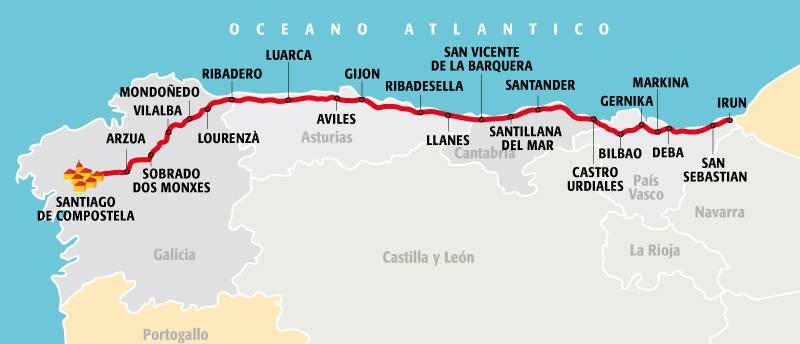 mappa cammino do santiago costa oceano atlantico