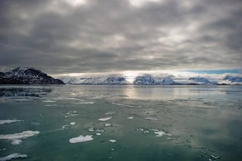 View of the Norvegian fjord Kongsfjord o