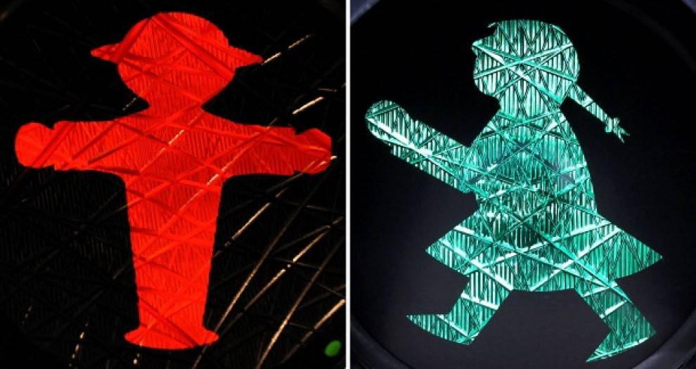L'omino del semaforo e la sua versione femminile (foto dal web)