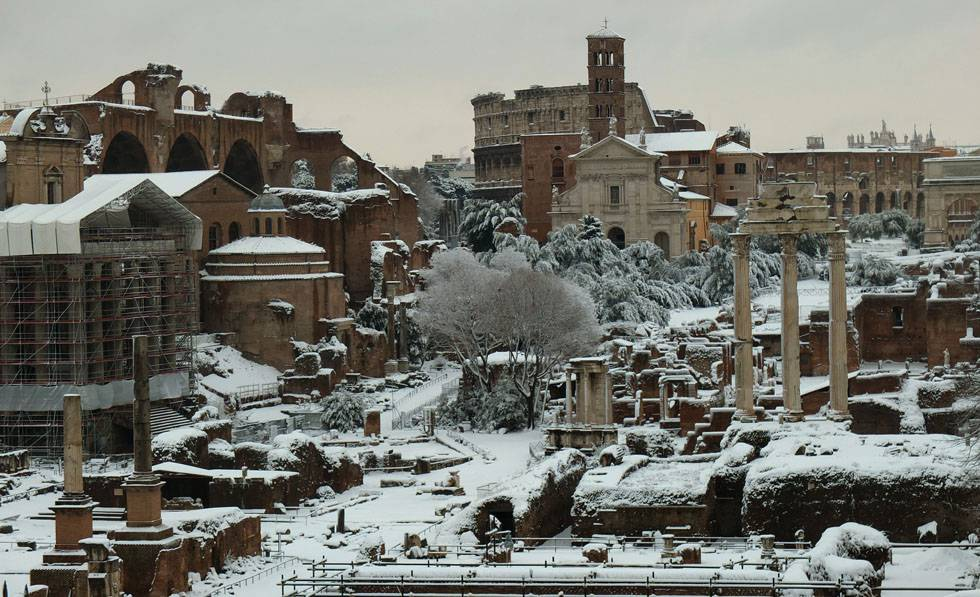 The ancient forum is covered with snow o
