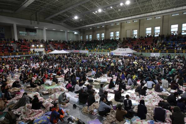Family Members At South Korean Ferry Disaster Rescue Site